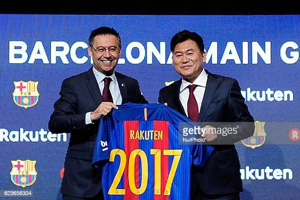 The FC Barcelona president Josep Maria Bartomeu and the Rakuten CEO Hiroshi Mikitani during the Rakuten new FC Barcelona partner on November 16 2016...