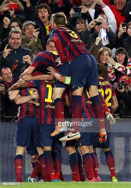 The FC Barcelona team celebrates the first goal during the UEFA Champions League Round of 16 second leg between FC Barcelona and Manchester City at...