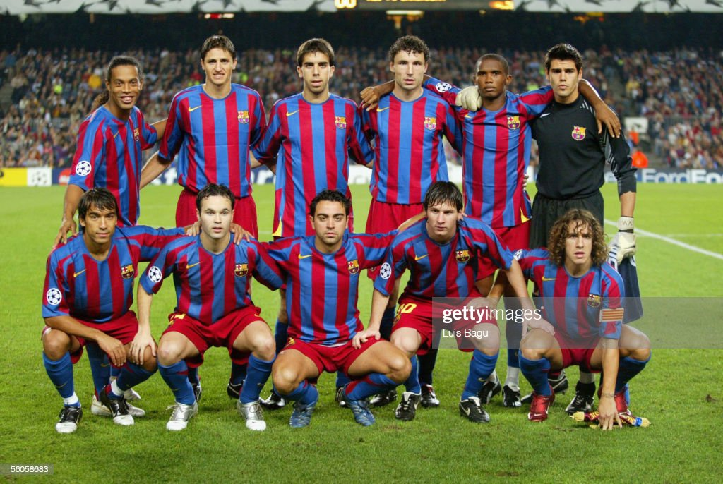 The FC Barcelona team photocall before the UEFA Champions League group C match between FC Barcelona and Panathinaikos at the Camp Nou stadium on November 2, 2005 in in Barcelona, Spain.