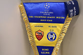 The FC BATE Borisov match pennant hangs in the dressing room prior to the UEFA Champions League Group E match between AS Roma and FC BATE Borisov at...