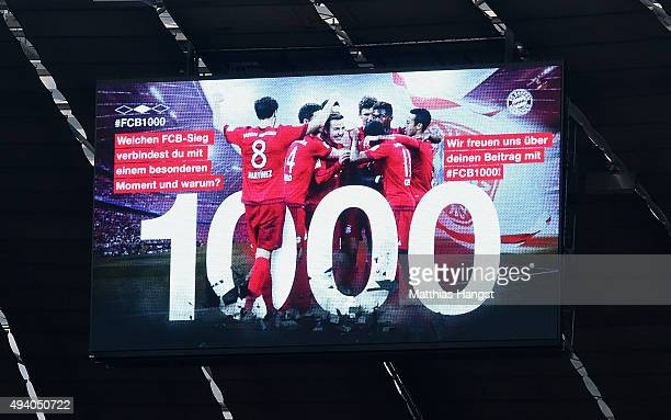 The FC Bayern Muenchen celebrate the 1000th Bundesliga victory after the Bundesliga match between FC Bayern Muenchen and 1 FC Koeln at Allianz Arena...