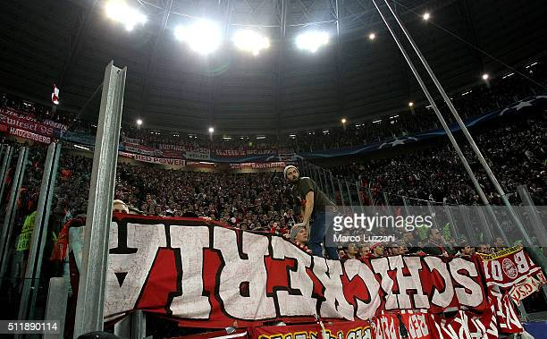 The FC Bayern Muenchen fans show their support during the UEFA Champions League Round of 16 first leg match between Juventus and FC Bayern Muenchen...