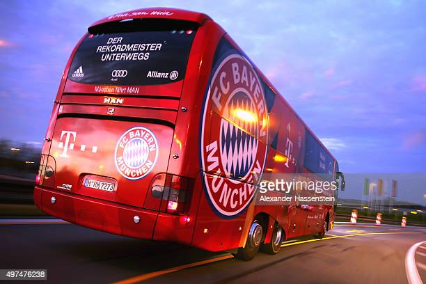 The FC Bayern Muenchen team bus a MAN Lion's Coach L Supreme is seen on November 15 2015 in Munich Germany