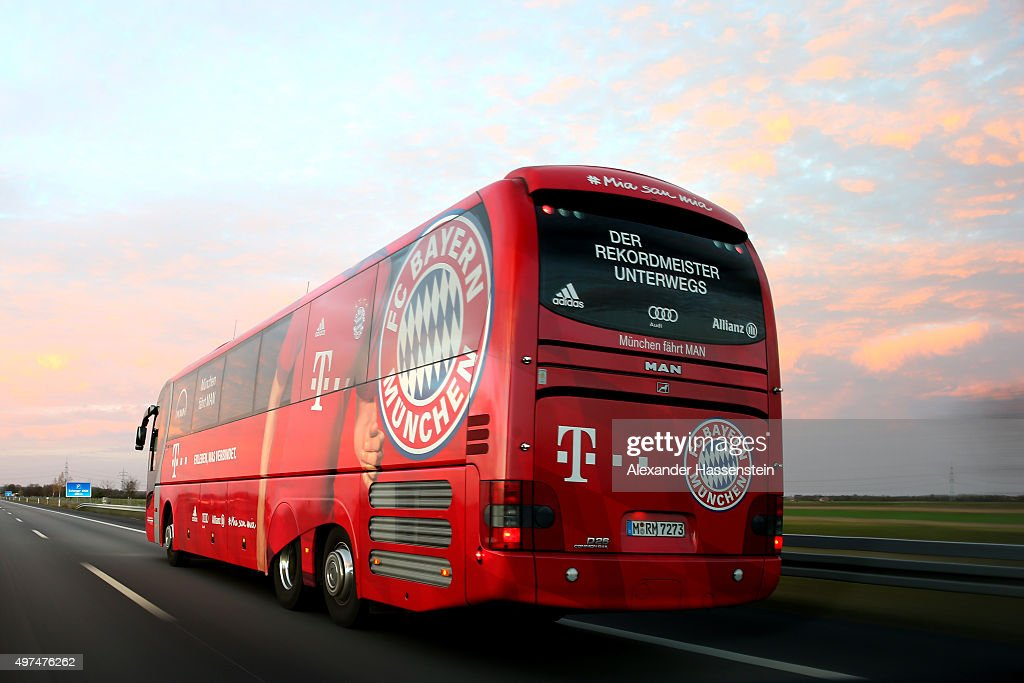 fc bayern muenchen team bus in motion getty images. Black Bedroom Furniture Sets. Home Design Ideas