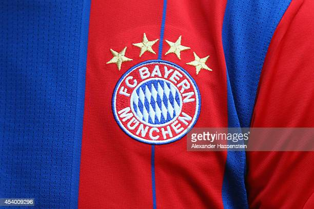 The FC Bayern Munich logo is dispatch on the match jersey during the Bundesliga match between FC Bayern Muenchen and VfL Wolfsburg at Allianz Arena...