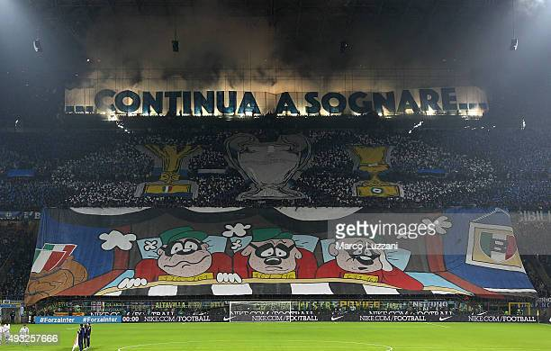 The FC Internazionale Milano fans show their support before the Serie A match between FC Internazionale Milano and Juventus FC at Stadio Giuseppe...