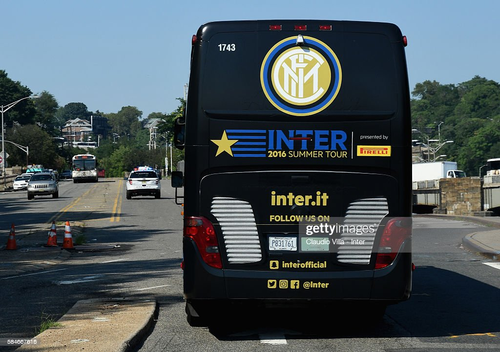 The FC Internazionale team bus en route to Montclair State University on July 29 2016 in Montclair United States