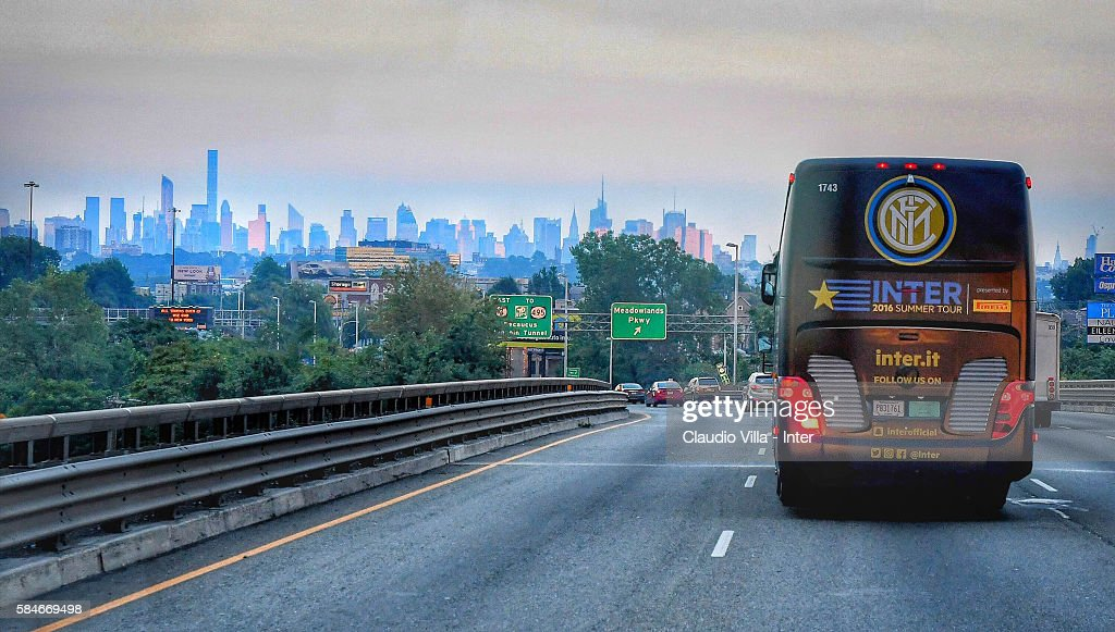 The FC Internazionale team bus en route to New York State University on July 29 2016 in Montclair United States