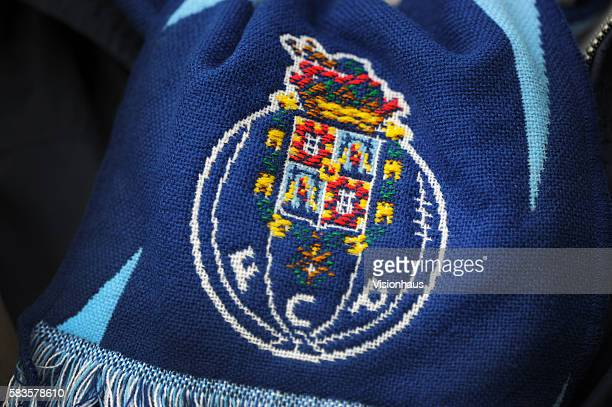 The FC Porto club crest on a fan's scarf before the UEFA Europa League Final match between FC Porto and SC Braga at the Aviva Stadium in Dublin...