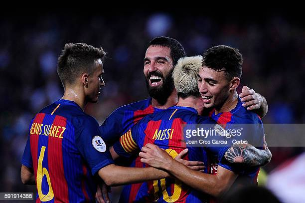 The FCBarcelona players Denis Suárez Lionel Messi Arda Turan and Munir celebrating the Lionel Messi goal during the FCBarcelona vs Sevilla FC Spanish...