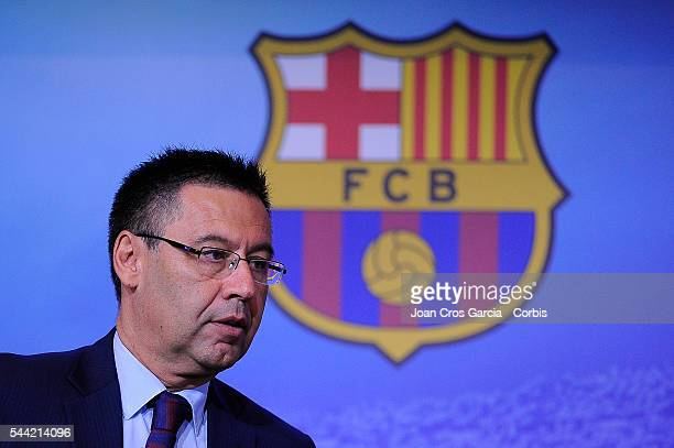 The FCBarcelona president Josep Maria Bartomeu attends the press during FCBarcelona balance season June 30 2016 in Barcelona Spain