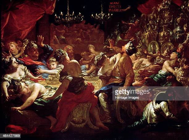 'The Feast of Belshazzar' 17th or early 18th century Scene from the Bible After profaning the sacred vessels of the enslaved Israelites the Baylonian...