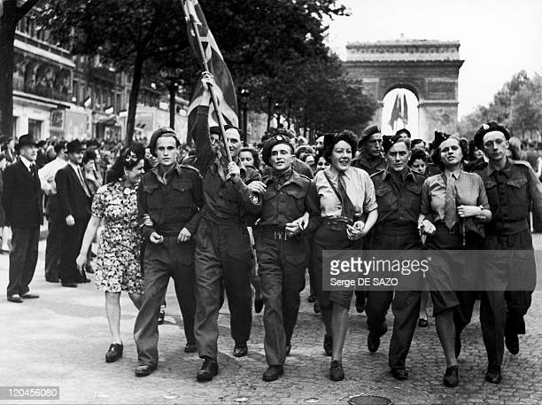 The feast of the victory in Paris France on May 08 1945 The victory festival at the Champs Elysees