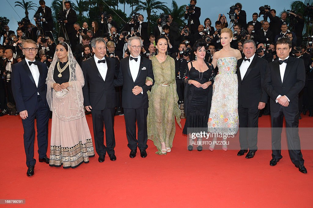 The Feature Film Jury members (from L) Austrian actor Christoph Waltz, Indian actress Vidya Balan, Taiwanese director Ang Lee, US director and President of the Feature Film Jury Steven Spielberg, Japanese director Naomi Kawase, British director Lynne Ramsay, Australian actress Nicole Kidman, French actor Daniel Auteuil and Romanian director Cristian Mungiu pose on May 15, 2013 as they arrive for the screening of 'The Great Gatsby' ahead of the opening of the 66th edition of the Cannes Film Festival in Cannes. Cannes, one of the world's top film festivals, opens on May 15 and will climax on May 26 with awards selected by a jury headed this year by Hollywood legend Steven Spielberg.