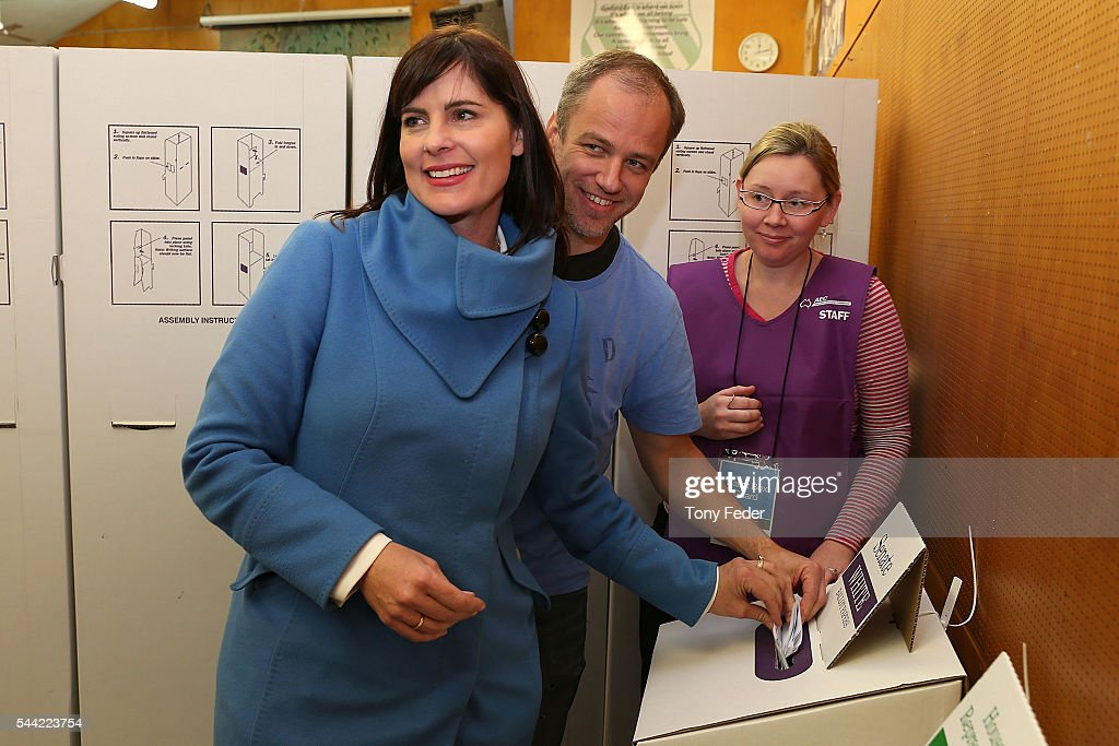 The Federal member for Robertson Lucy Wicks and husband Chris vote at East Gosford Public School in the electorate of Robertson on July 2, 2016 in Gosford, Australia. Voters head to the polls today to elect the 45th parliament of Australia.