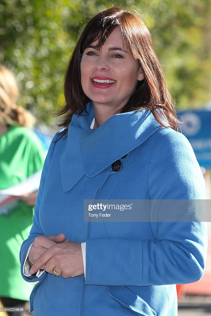 The Federal member for Robertson Lucy Wicks outside East Gosford Public School in the electorate of Robertson on July 2, 2016 in Gosford, Australia. Voters head to the polls today to elect the 45th parliament of Australia.