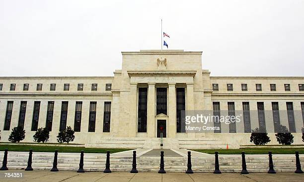 The Federal Reserve headquarters is seen December 7 2001 from Constitution Avenue in Washington DC Environmental tests conducted overnight were...
