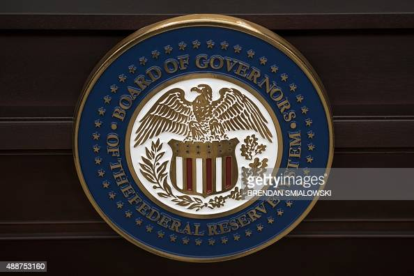The Federal Reserve seal is seen before Federal Reserve Chair Janet L Yellen speaks at the Federal Reserve's Wilson Conference Center September 17...
