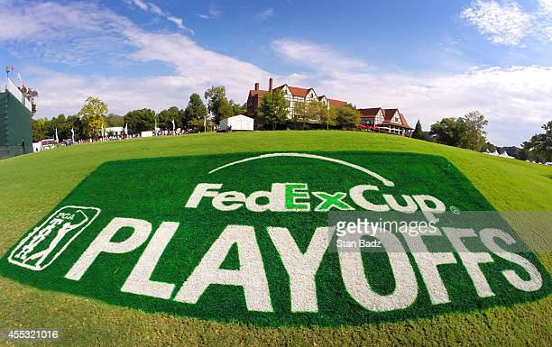 The FedEx Cup PLAYOFFS logo is displayed on the clubhouse lawn during the second round of the TOUR Championship by CocaCola the final event of the...