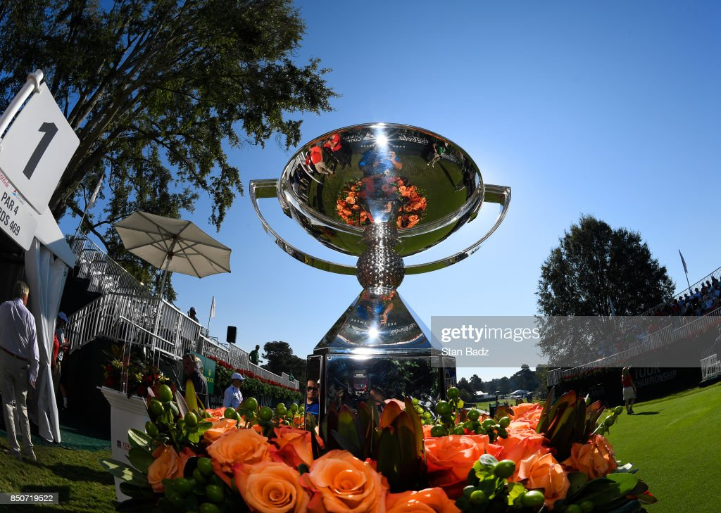 The FedExCup trophy is displayed on the first hole during the first round of the TOUR Championship, the final event of the FedExCup Playoffs, at East Lake Golf Club on September 21, 2017 in Atlanta, Georgia.