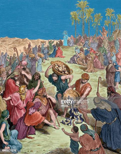 The Feeding of the 4000 Gospel of Matthew Chapter 15 Verses 30 to 37 Illustration by Gustave Dore Colored engraving