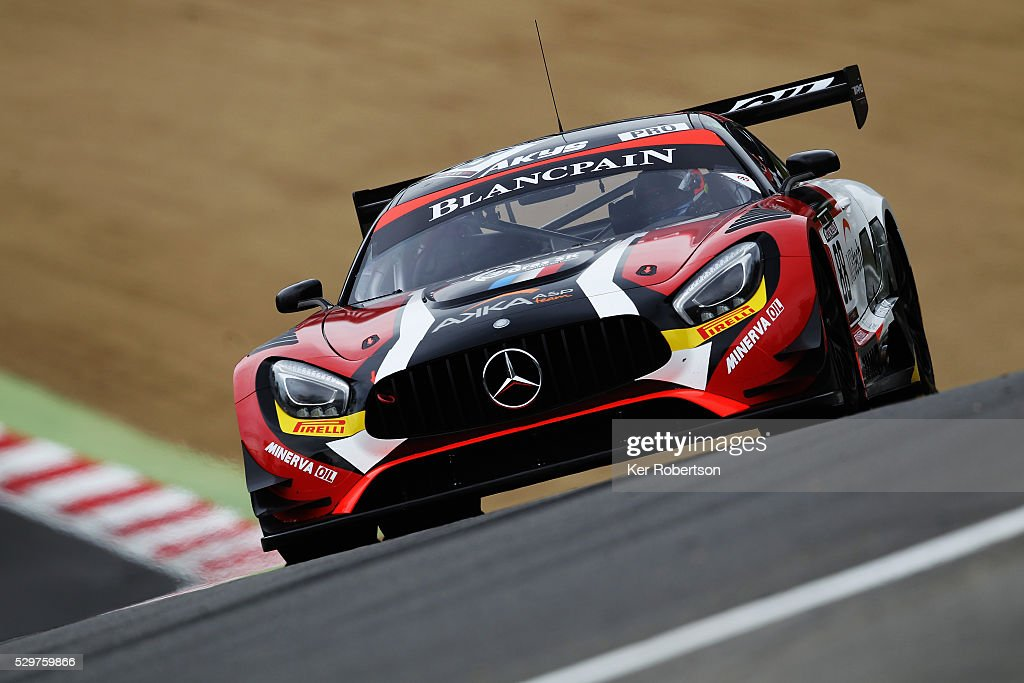 The Felix Rosenqvist and Tristan Vautier AKKA ASP MercedesAMG GT3 drives during practice for the Blancpain GT Series Sprint Cup at Brands Hatch on...