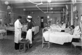 The female medical ward at the Montague Hospital Mexborough South Yorkshire 1959 The hospital was founded in 1889 after a campaign by Dr Sykes and...