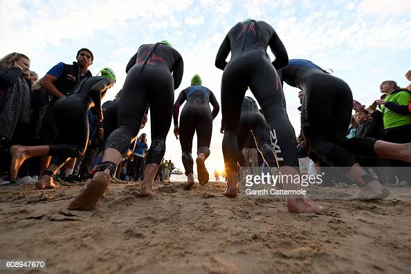 The female professional athletes enter the water for the swim section of Ironman Wales on September 18 2016 in Pembroke Wales