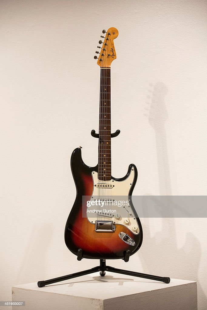 The Fender Stratocaster electric guitar played by musician Bob Dylan on July 25, 1965 at Newport Folk Festival, better known as 'the night Dyan went electric' is seen at an auction preview at Christie's on November 25, 2013 in New York City. The guitar is estimated at $300,000 to $500,000.