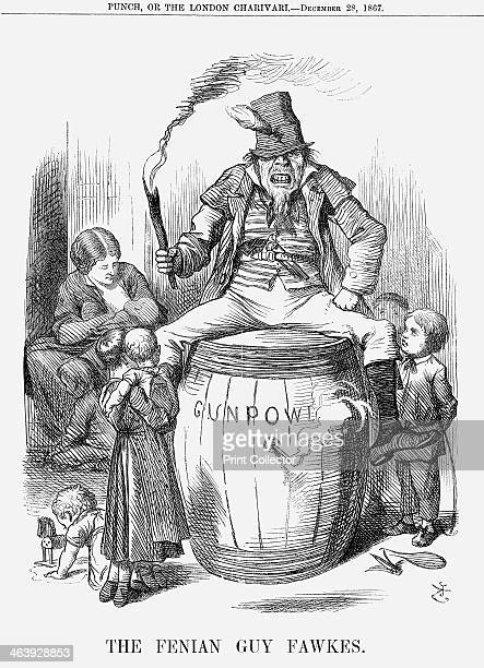 'The Fenian Guy Fawkes' 1867 In the middle of a crowd of children with a mother feeding her baby in the background a suitably simian Fenian sits...