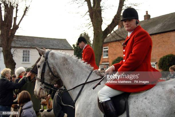 The Fernie Hunt gathers for the Boxing Day meet on the Square in Great Bowden near Market Harborough in Leicesterhire
