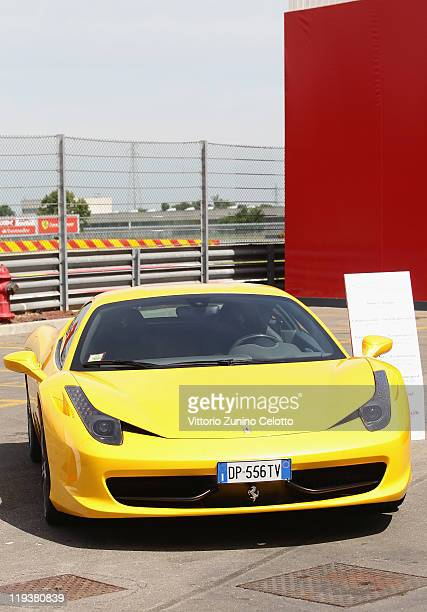 The Ferrari 458 Italia is displayed on July 19 2011 in Maranello Italy The Ferrari World Design Contest has been launched by Ferrari in collaboration...