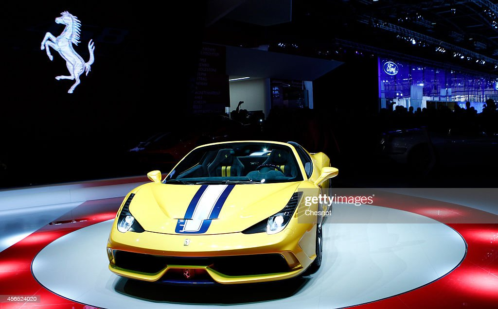 The Ferrari 458 Speciale A is presented during the press day of the Paris Motor Show on October 02, 2014, in Paris, France. The Paris Motor Show will showcase the latest models from the auto industry's leading manufacturers at the Paris Expo exhibition centre.