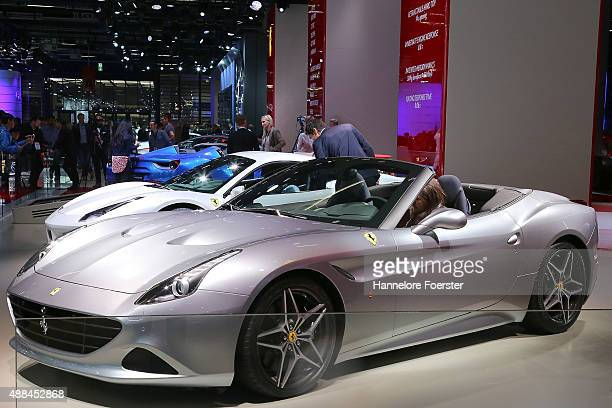 The Ferrari cars at the Ferrari stand at the 2015 IAA Frankfurt Auto Show during a press day on September 16 2015 in Frankfurt Germany The IAA...
