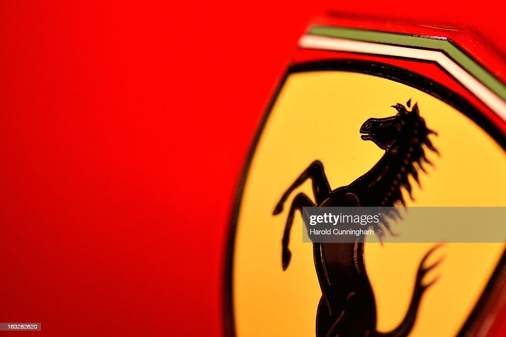The Ferrari logo is seen during the 83rd Geneva Motor Show on March 6, 2013 in Geneva, Switzerland. Held annually with more than 130 product premiers from the auto industry unveiled this year, the Geneva Motor Show is one of the world's five most important auto shows.