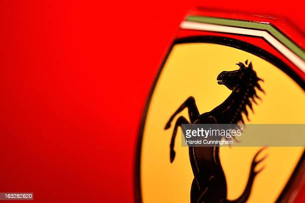 The Ferrari logo is seen during the 83rd Geneva Motor Show on March 6 2013 in Geneva Switzerland Held annually with more than 130 product premiers...