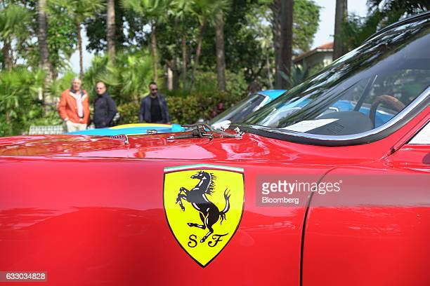 The Ferrari SpA logo is displayed on a 1963 Ferrari 330 LMB race vehicle during the 26th Annual Cavallino Classic Event at the Breakers Hotel in Palm...