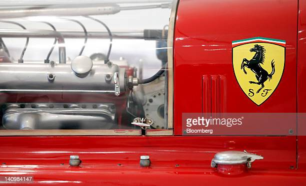 The Ferrari SpA logo sits on the body of a 1935 Alfa Romeo Bimotore automobile as it sits on display inside the Enzo Ferrari Home Museum in Modena...