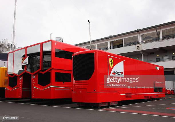 The Ferrari treehouse technical unit is seen in the paddock during practice for the German Grand Prix at the Nuerburgring on July 5 2013 in Nuerburg...