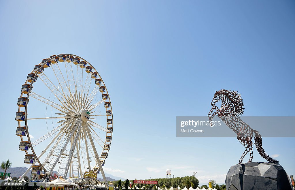 The ferris wheel and stallion art installation are seen during 2016 Stagecoach California's Country Music Festival at Empire Polo Club on April 29, 2016 in Indio, California.