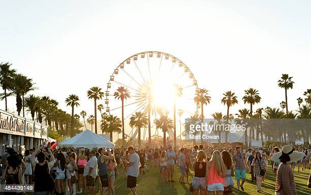 The Ferris wheel is seen during day 1 of the 2014 Coachella Valley Music Arts Festival at the Empire Polo Club on April 11 2014 in Indio California