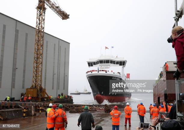 The ferry MV Glen Sannox travels down slipway at its launch ceremony for the liquefied natural gas passenger ferry the UK's first LNG ferry at...