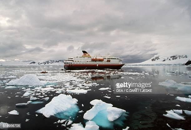 The ferry the Nordnorge near Port Lockroy Wiencke island British Antarctic Territory Antarctica