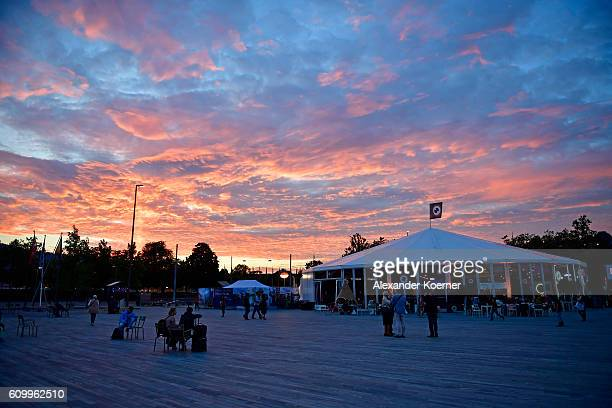 The festival centre is illuminated by the sunset during the 12th Zurich Film Festival on September 23 2016 in Zurich Switzerland The Zurich Film...