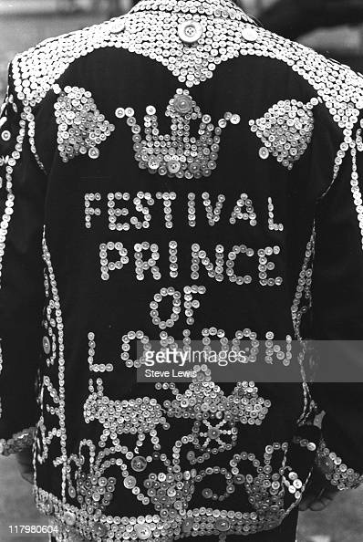 The Festival Prince of London wearing a pearly outfit in London's East End circa 1970
