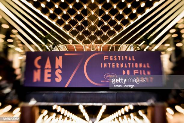The festival's sign is on display inside the Palais de Festival during the 70th annual Cannes Film Festival at on May 22 2017 in Cannes France