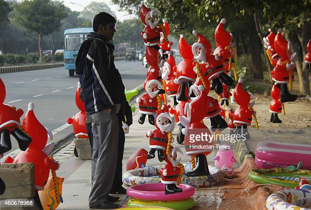 The festivities have already started as toys in the shape of Santa Claus were spotted at several road stalls across the city for Christmas...