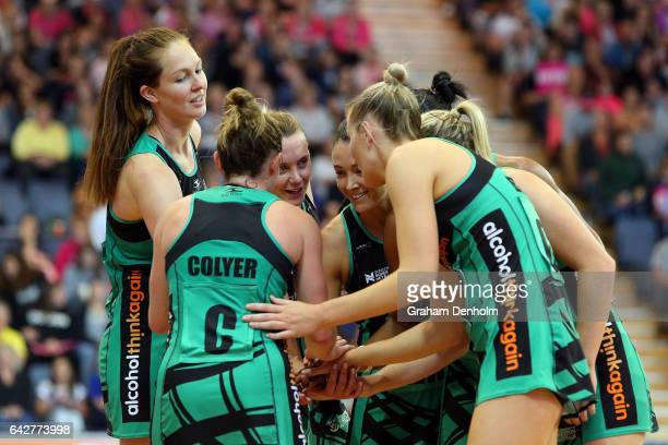 The Fever huddle during the round one Super Netball match between the Thunderbirds and Fever on February 19 2017 in Adelaide Australia