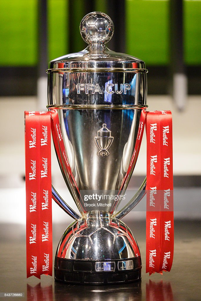 The FFA Cup on display during the round of 32 draw announcement at the FFA Offices on June 30, 2016 in Sydney, Australia.