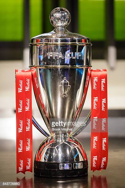 The FFA Cup on display during the round of 32 draw announcement at the FFA Offices on June 30 2016 in Sydney Australia
